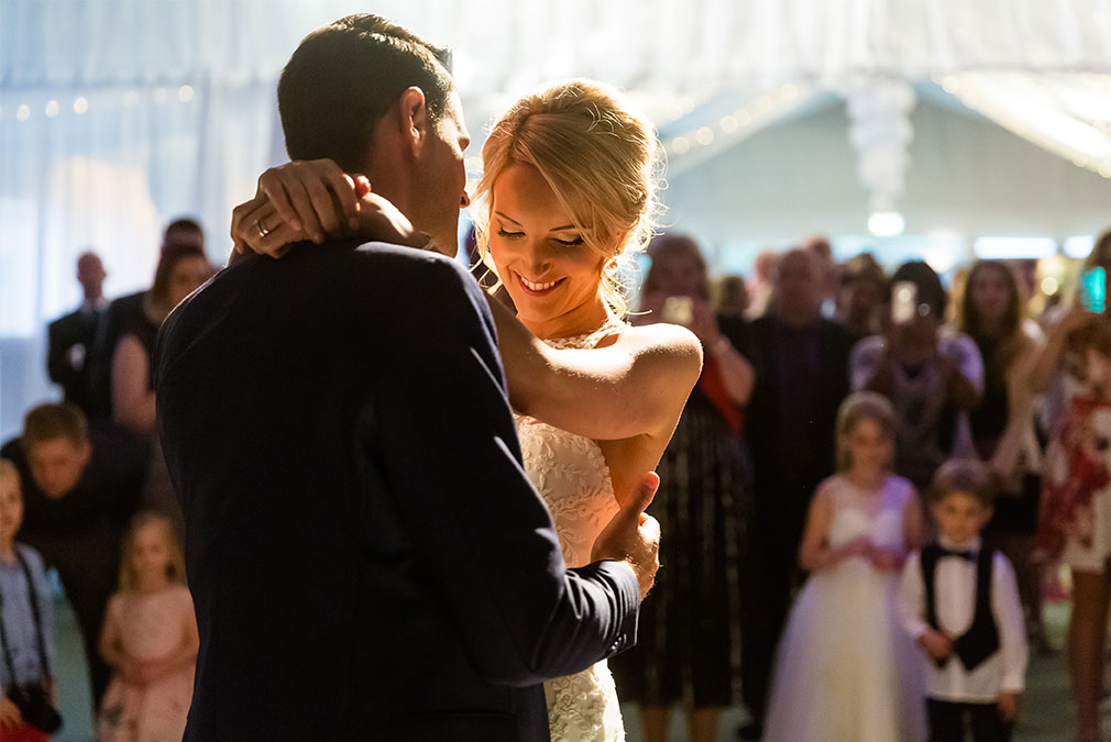 Bride and groom's first dance at their Braxted Park wedding reception