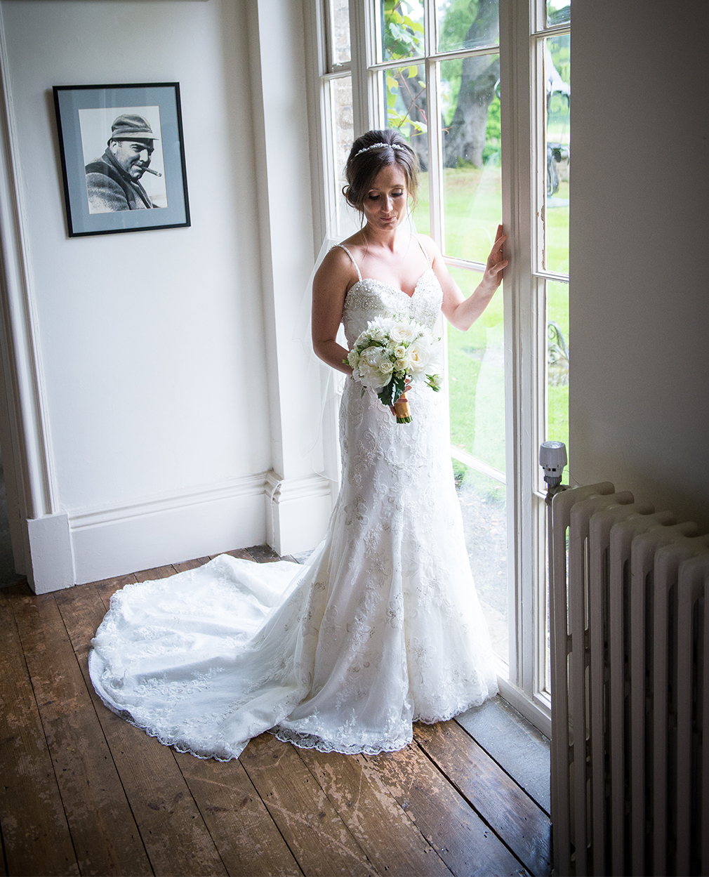 Madeline chose a fishtail wedding dress after trying on lots of designer wedding dresses