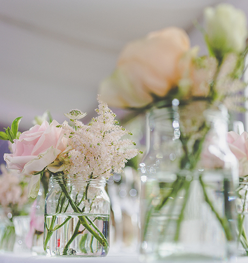 The colour pink played a big part of the couple's wedding ideas like these beautiful pink flowers