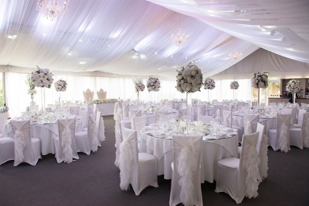 Wedding reception set up at Braxted Park wedding venue in Essex