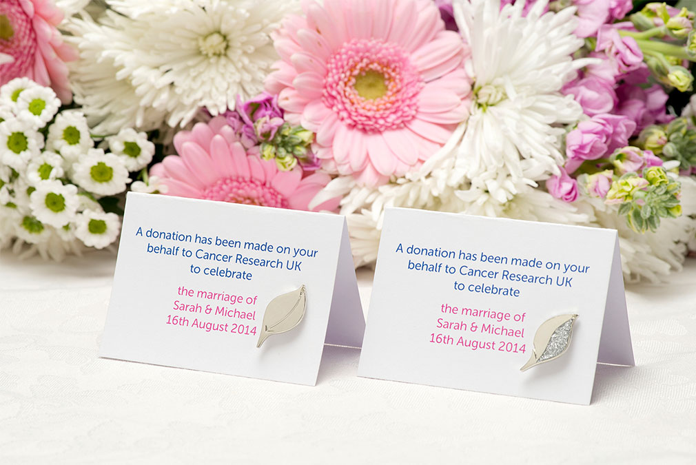 Charity pins and donation given as wedding gift