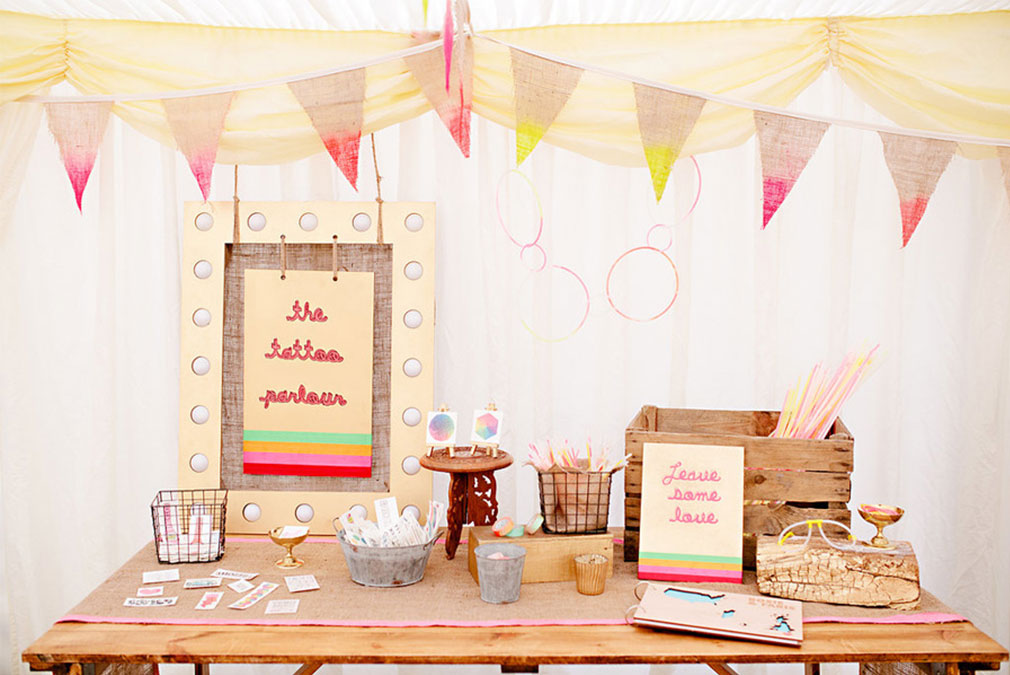 Quirky temporary tattoo station for wedding favours
