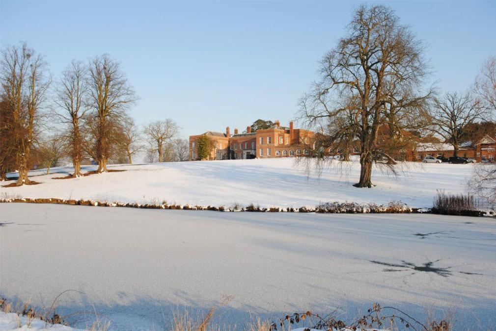 Snowy winter scene at Braxted Park wedding venue in Essex