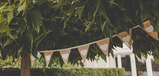Wedding bunting can make a fantastic addition to your wedding decorations – countryside wedding
