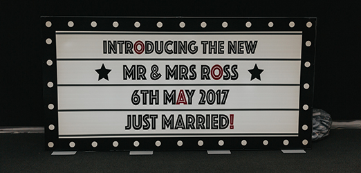 A light up letter box reads 'Introducing the new Mr & Mrs Ross 6th May 2017 Just Married