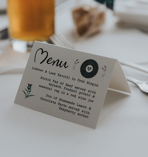 Each table included a wedding menu outlining the wedding breakfast – wedding food ideas