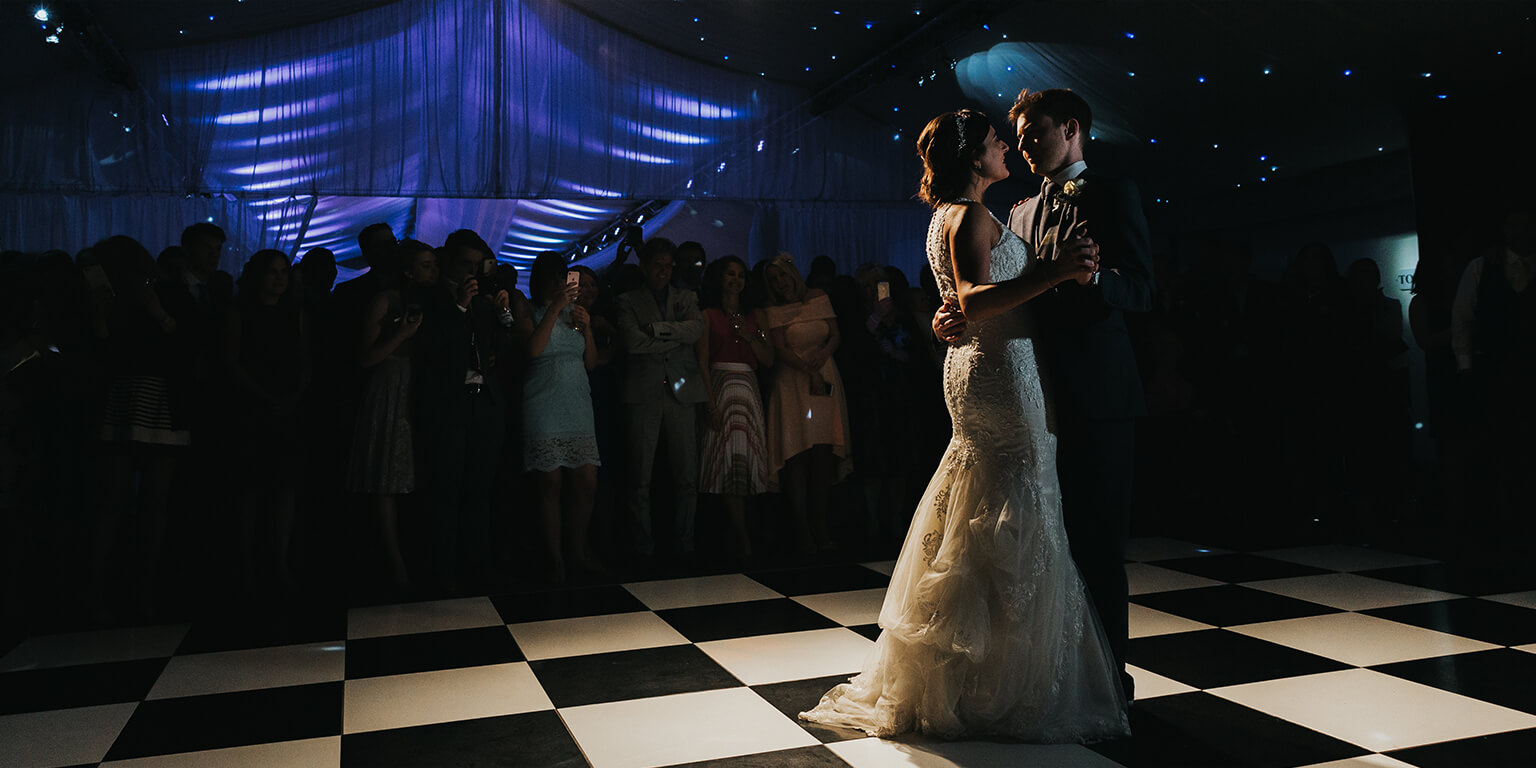 The happy couple take to the dancefloor to enjoy their first dance as husband and wife
