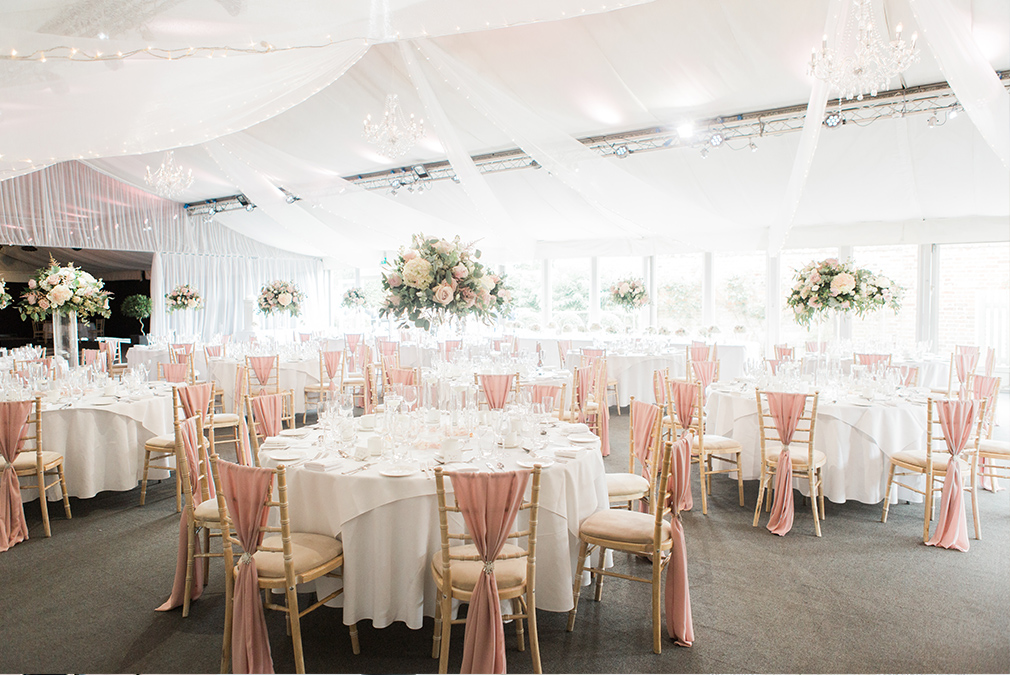Enjoy your wedding breakfast in the Pavilion decorated with a pretty pink colour scheme perfect for summer weddings