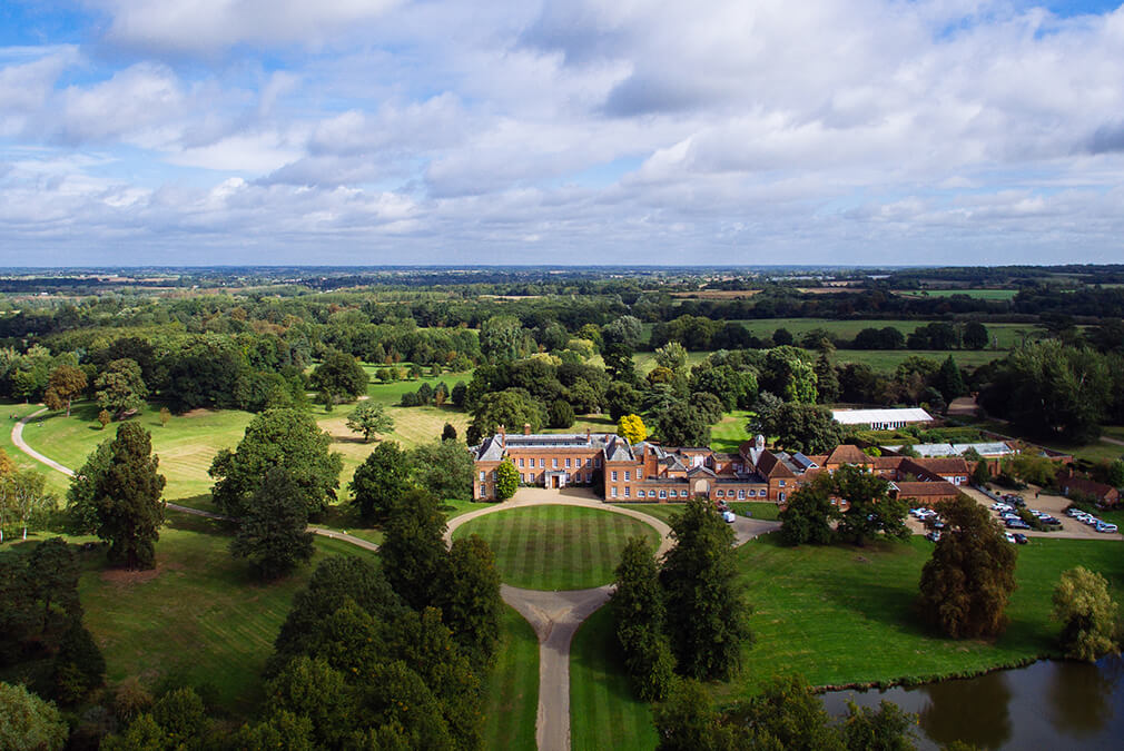 An aerial view of Braxted Park exclusive use wedding venue in Essex