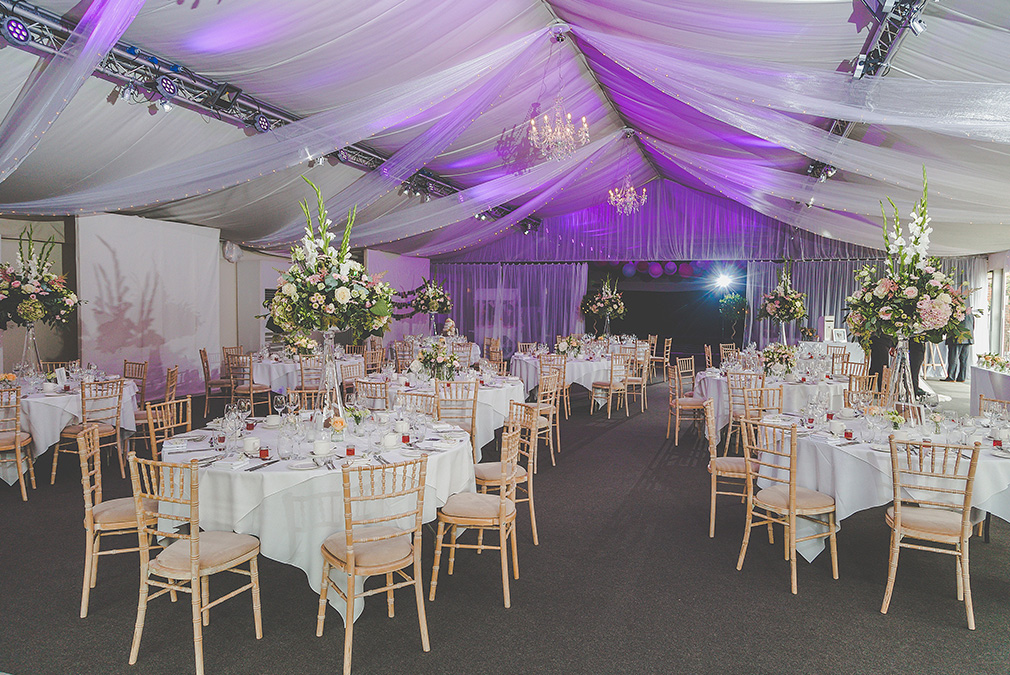 The Pavillion at Braxted Park wedding venue in Essex is set up for a wedding reception
