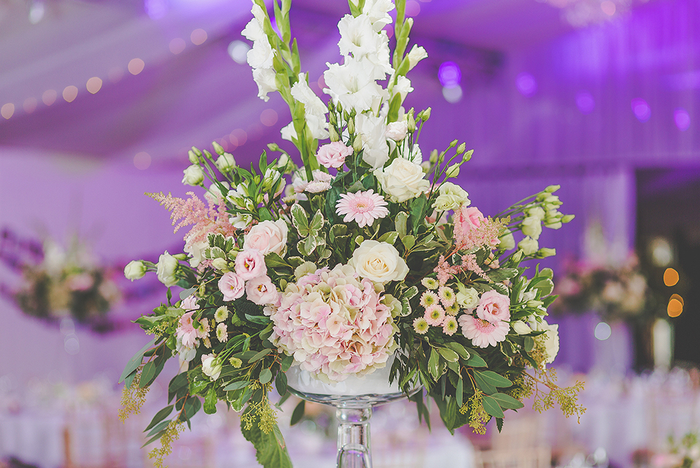 For an intimate wedding at Braxted Park consider stunning floral table centrepieces for your wedding breakfast