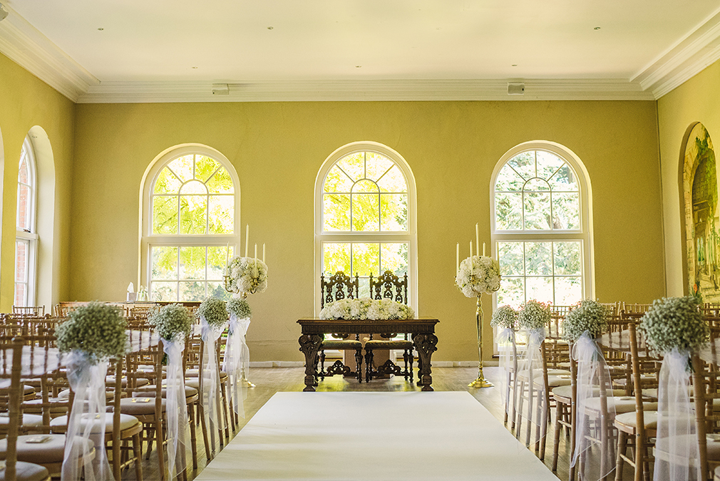 The Orangery at Braxted Park is set up for an intimate wedding ceremony