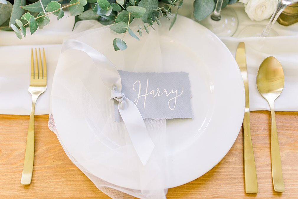 A personalised place setting is perfect for an intimate wedding at Braxted Park
