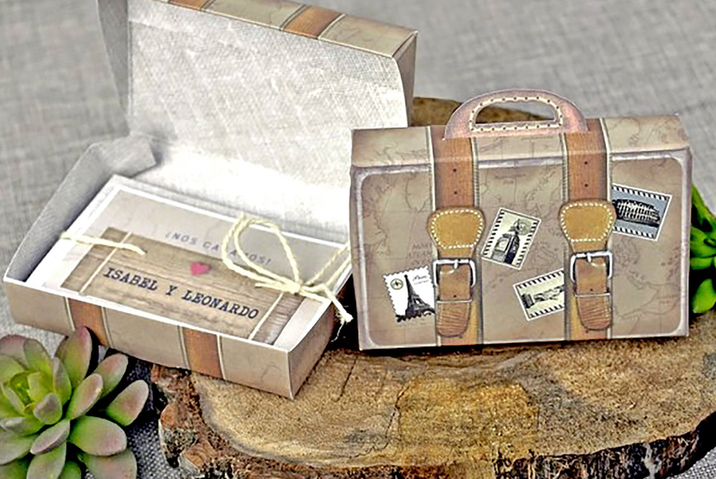 Vintage suitcase props and invites are perfect for a travel themed wedding at Braxted Park