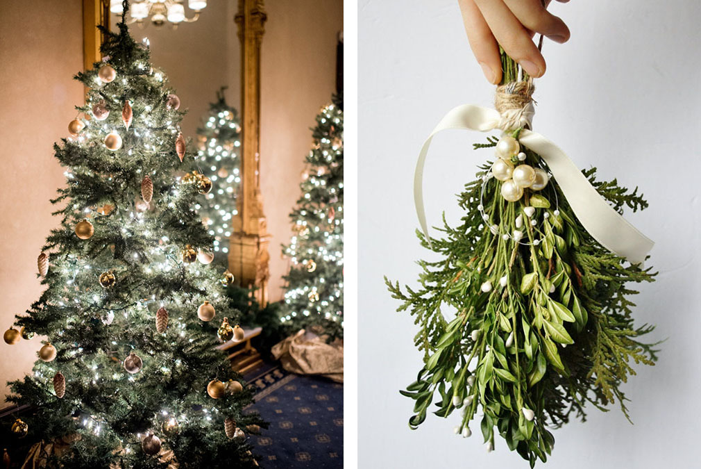 if you're having a winter wedding at Braxted Park a Christmas Tree and mistletoe is a must
