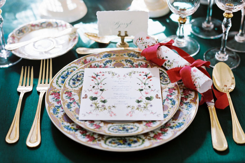 Create a winter wonderland weddign at Braxted Park with Christmas styled place settings