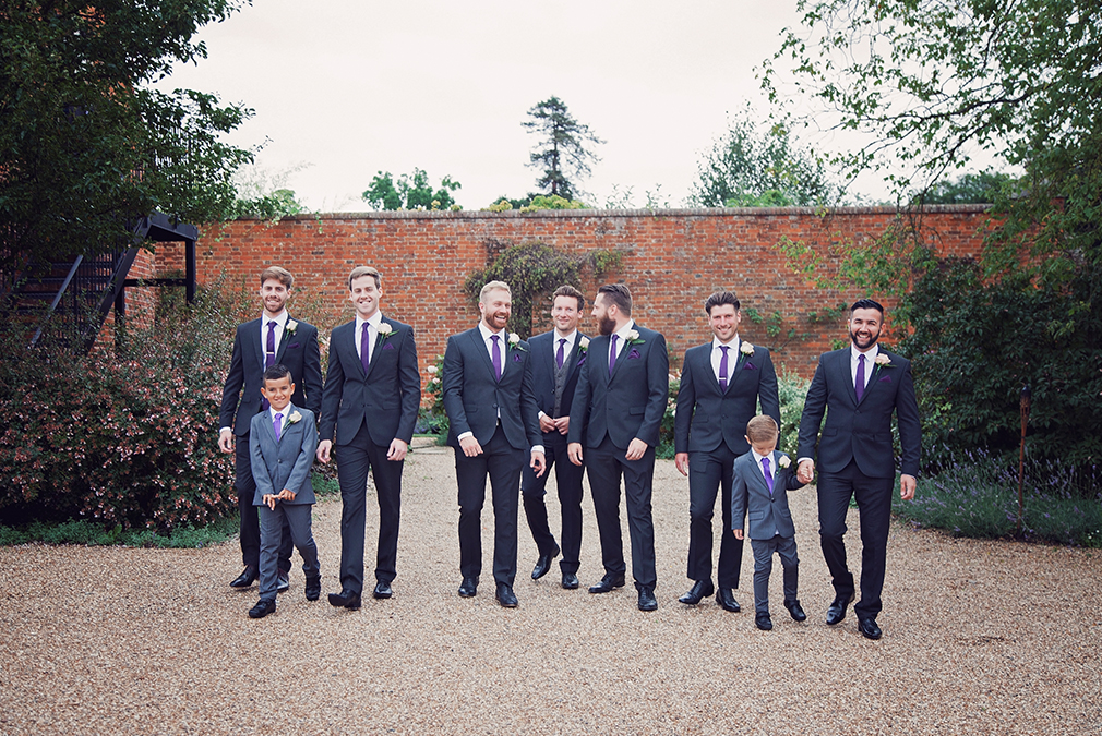 The groom and his groomsmen prepare for the wedding ceremony at Braxted Park wedding venue in Essex