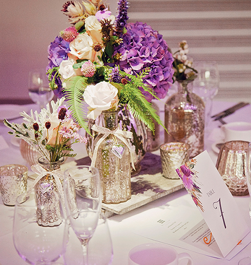 Lavender wedding bridal bouquet on the table