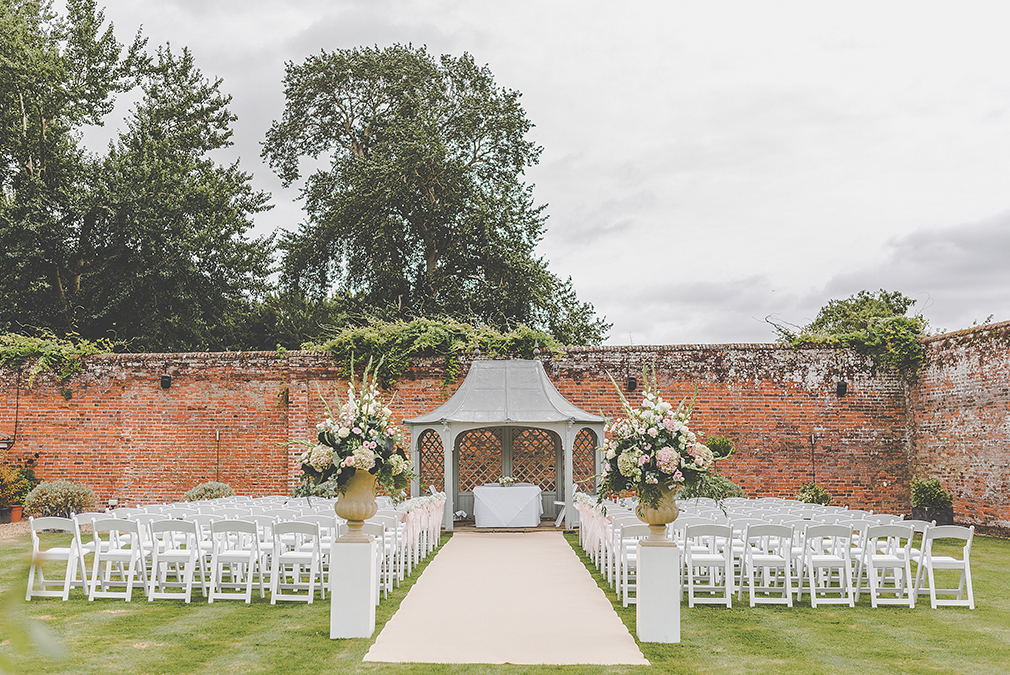 An outdoor wedding ceremony at Braxted Park is perfect for a spring wedding