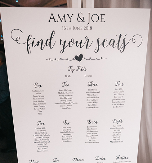 For their summer wedding at Braxted Park the couple had a simple black and white table plan