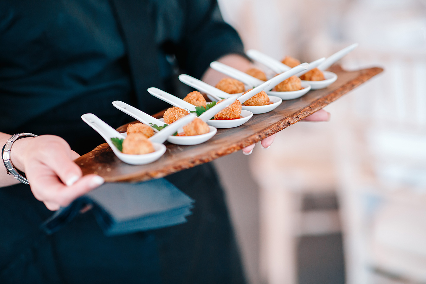 Serve a delicious selection of wedding canapes during your reception at Braxted Park wedding venue in Essex